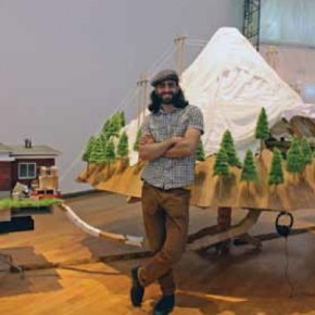 Artist Graeme Patterson and his multimedia installation The Mountain, 2012.