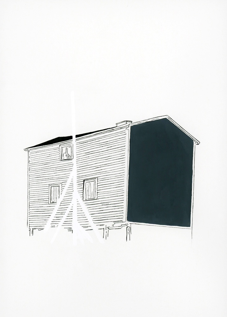 "Jerry Ropson, ""flagpole (shed),"" ink and flashe on paper, 2013."