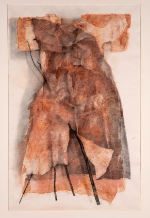 "Susan Wood, ""Dress No. 1,"" 1989, dry pigment, watercolour, pastel, carbon, washi collage on paper 199.4 x 129.5 cm (irregular), Collection of The Rooms Provincial Art Gallery"