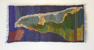 "Willa Marshall, ""Greenwich Peninsula,"" PEI. 2016; 16"" x 34""; handwoven, embroidered; handspun wool, cotton."