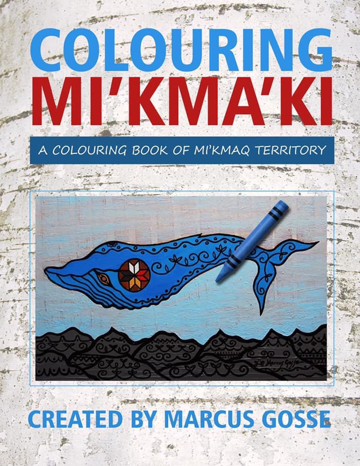 "A photograph of a colouring page featuring a whale above mountains with a blue crayon on top sits in the centre with a birch bark patterned background. The Title ""Colouring Mi'kma'ki"" is printed in blue and red with a blue box reading ""A Colouring Book of Mi'kmaq Territory"" in white. ""Created by Marcus Gosse"" is printed at the bottom of the image in blue."