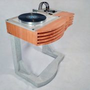 Jody Racicot, Turntable on Concrete Stand, arbutus, maple, Formica solid surface, concrete, stainless steel, electronics, 2020, photo